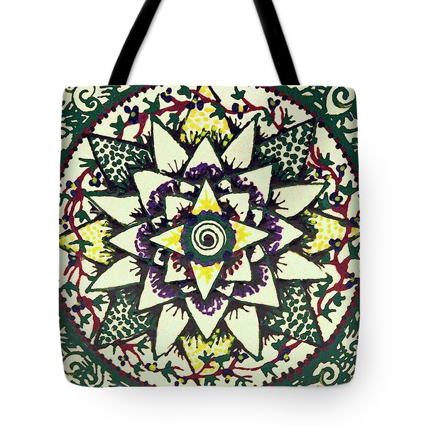 Tote Bag featuring the painting Sharon's Tile by Kym Nicolas