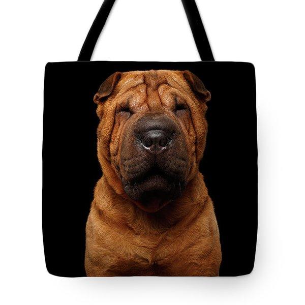 Sharpei Dog Isolated On Black Background Tote Bag