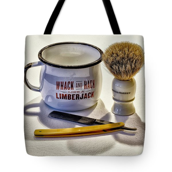 Tote Bag featuring the photograph Shaving Still Life by Walt Foegelle