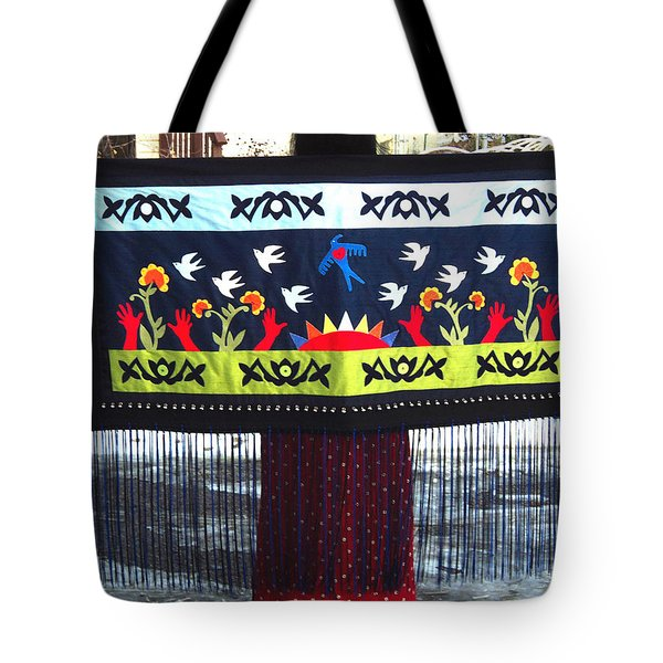 Tote Bag featuring the tapestry - textile Shawl - Lost Birds Return by Chholing Taha