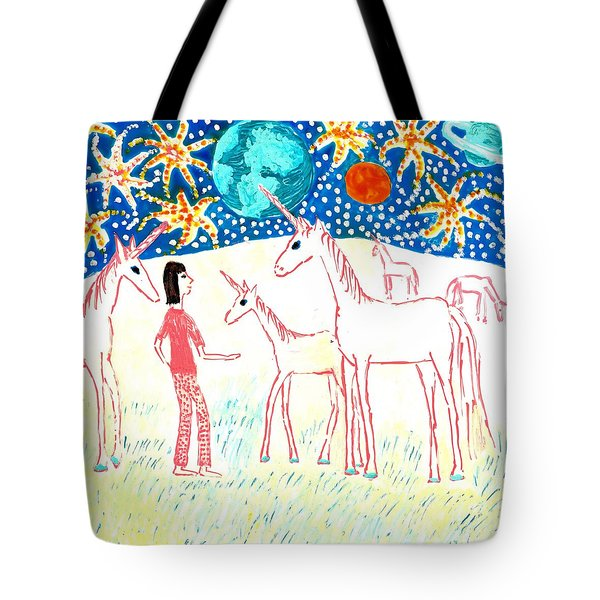She Meets The Moon Unicorns Tote Bag by Sushila Burgess
