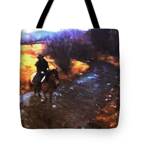 Tote Bag featuring the photograph She Rides A Mustang-wrangler In The Rain by Anastasia Savage Ealy