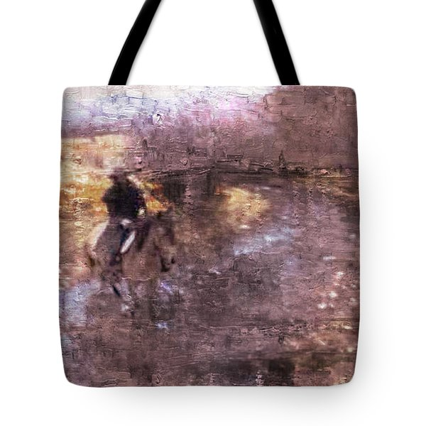 Tote Bag featuring the photograph She Rides A Mustang-wrangler In The Rain II by Anastasia Savage Ealy