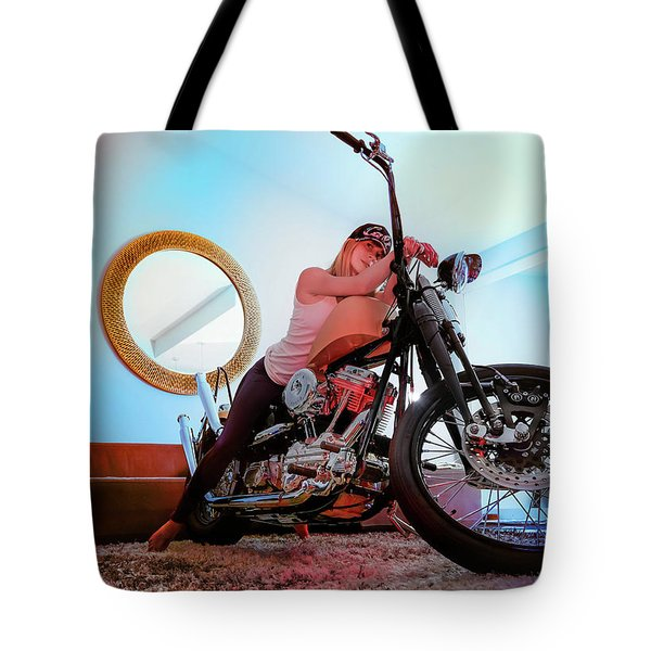 Tote Bag featuring the photograph She Rides- by JD Mims