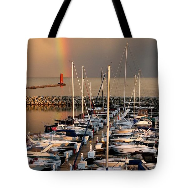 Sheboygan Harbor Rainbow Tote Bag
