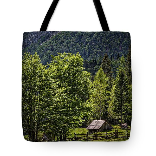 Tote Bag featuring the photograph Shed In The Slovenian Alps by Stuart Litoff