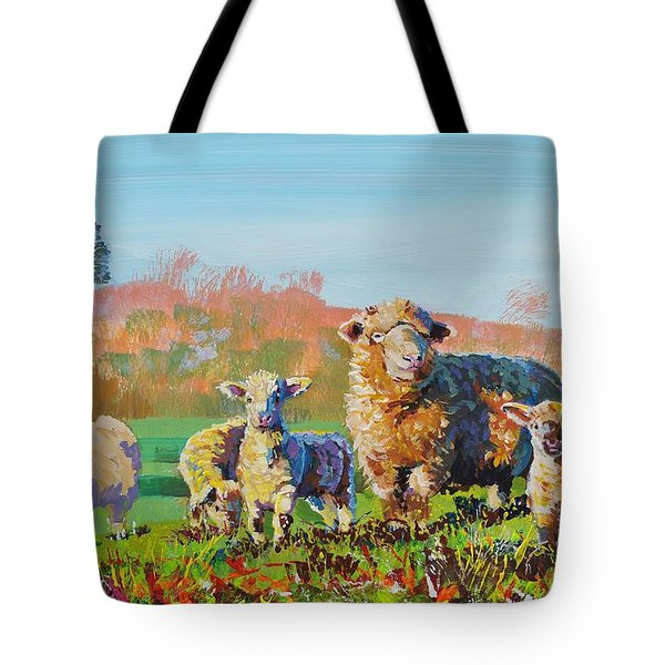 Sheep And Lambs In Devon Landscape Bright Colors Tote Bag