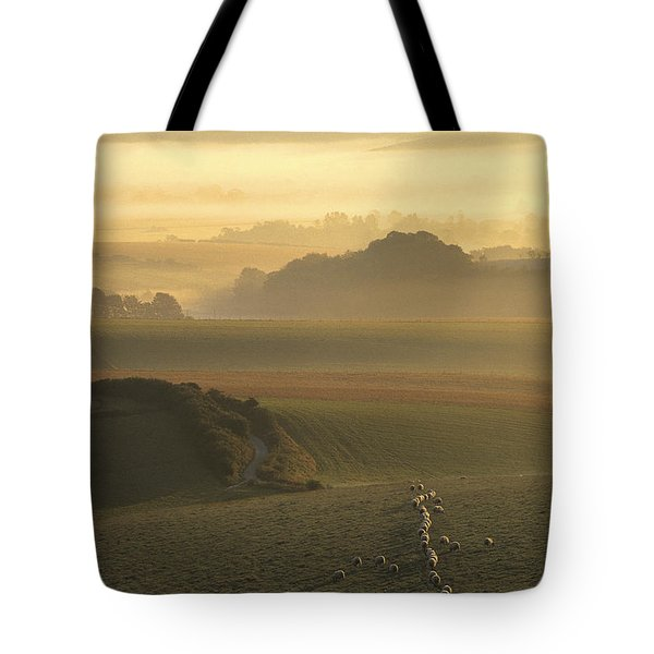 Sheep And Misty South Downs Tote Bag by Hazy Apple