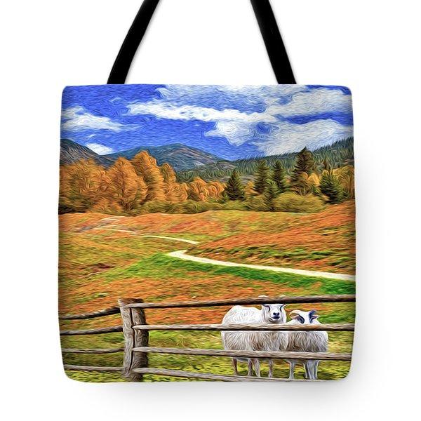 Sheep And Road Ver 1 Tote Bag