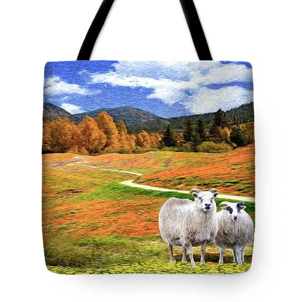 Sheep And Road Ver 2 Tote Bag