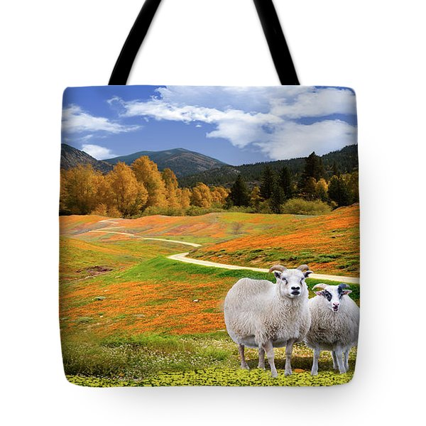Sheep And Road Ver 3 Tote Bag