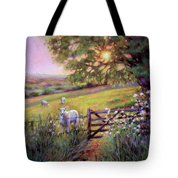 Sheep At Sunset Tote Bag