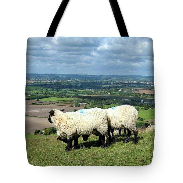 Sheep At Westbury Tor Tote Bag by Kurt Van Wagner