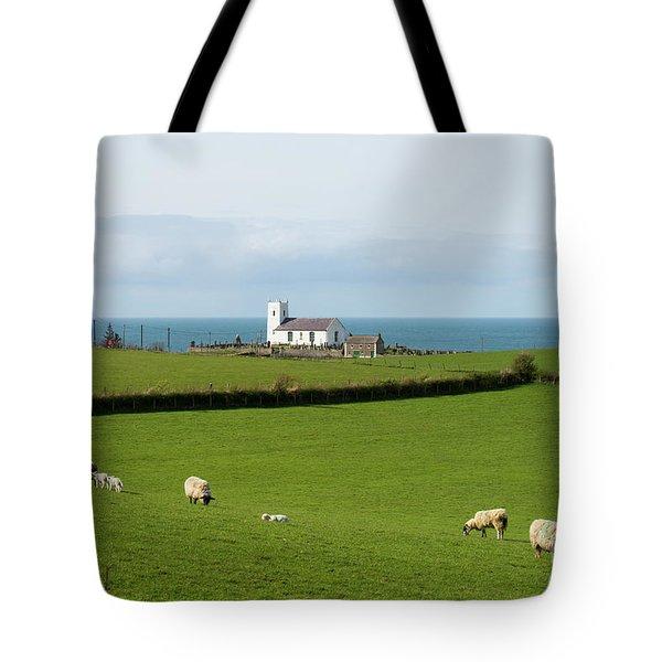 Tote Bag featuring the photograph Sheep Grazing On Irish Coastline by Juli Scalzi