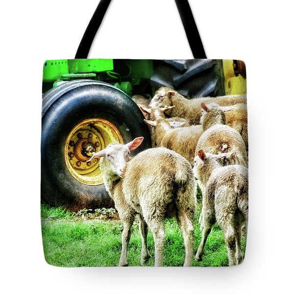 Tote Bag featuring the photograph Sheep Guards by Toni Hopper