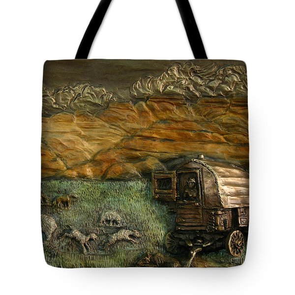 Tote Bag featuring the relief Sheep Herder's Wagon From Snowy Range Life by Dawn Senior-Trask