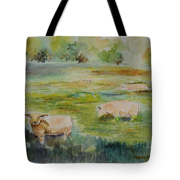 Tote Bag featuring the painting Sheep In Pasture by Geeta Biswas