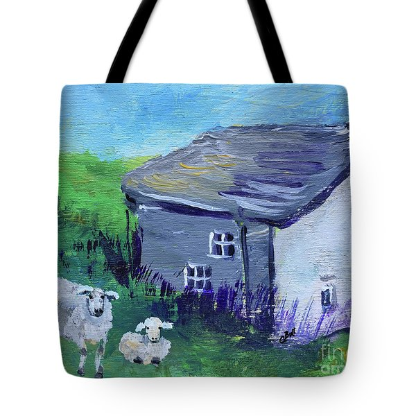Tote Bag featuring the painting Sheep In Scotland  by Claire Bull