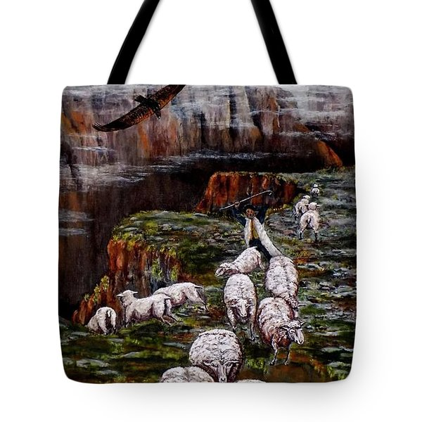 Tote Bag featuring the painting Sheep In The Mountains  by Judy Kirouac