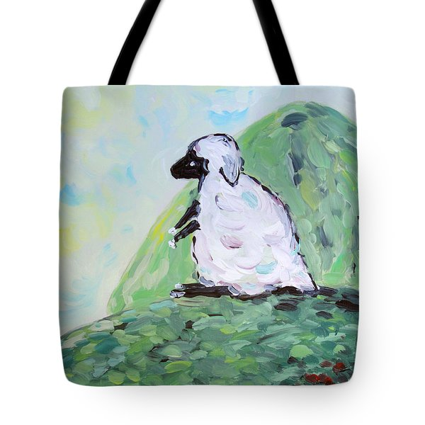 Sheep On A Hill Tote Bag