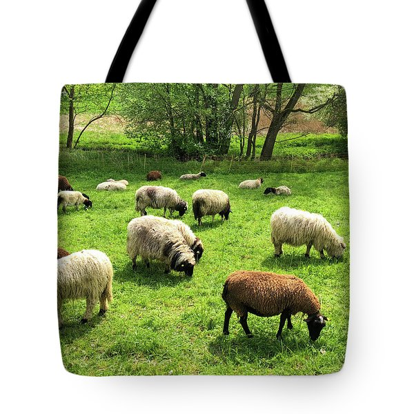 Sheep On Meadow Tote Bag