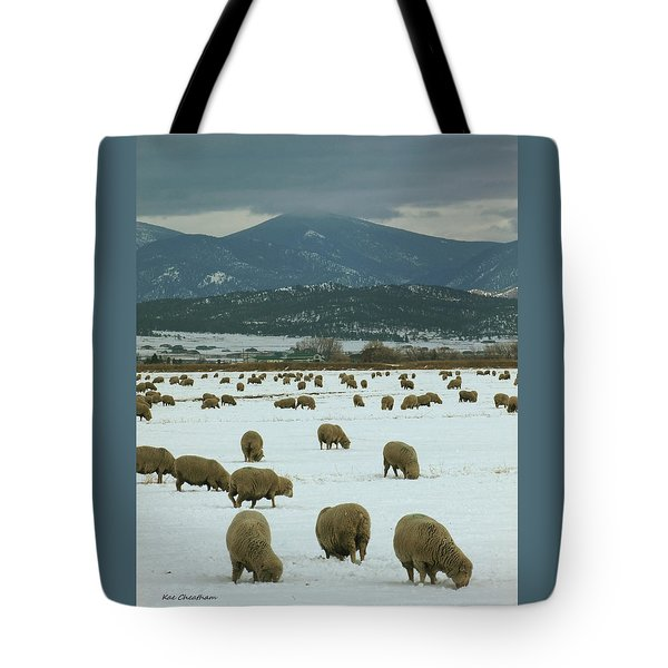 Sheep On Winter Field Tote Bag