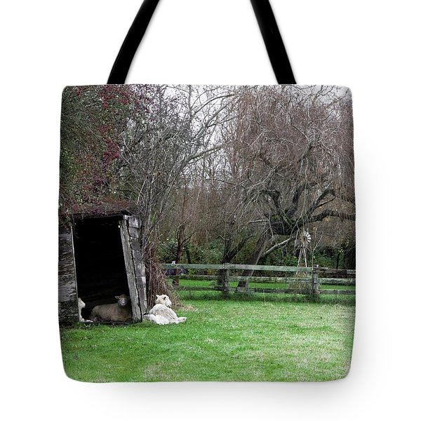 Tote Bag featuring the photograph Sheep Shed by Lorraine Devon Wilke