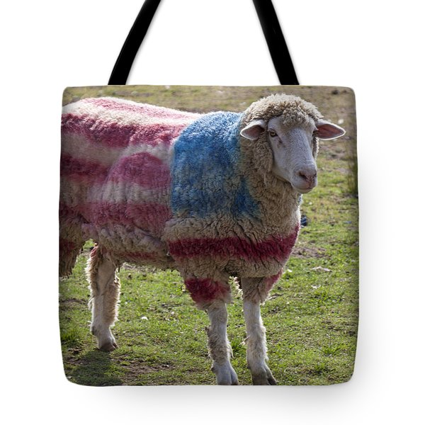 Sheep With American Flag Tote Bag by Garry Gay