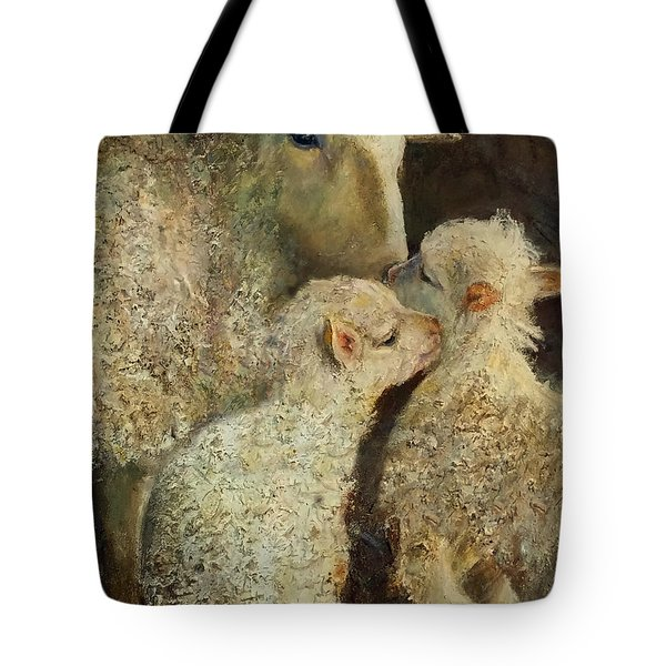 Sheep With Two Lambs Tote Bag