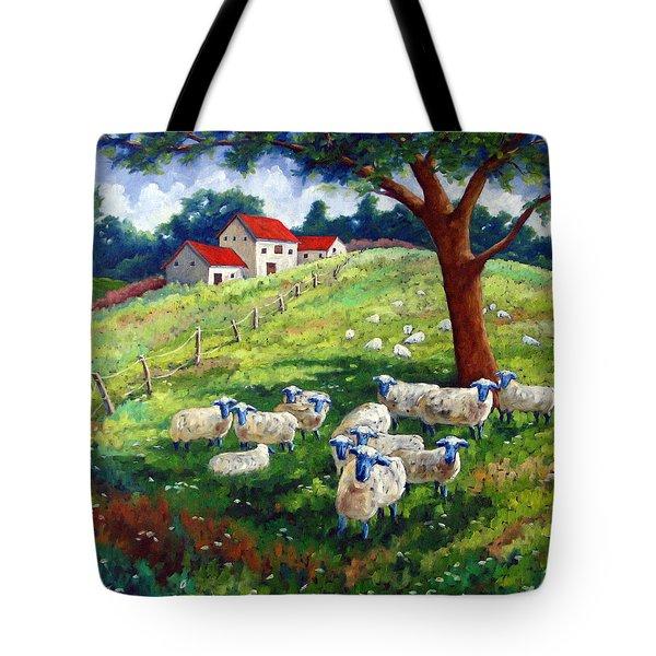 Sheeps In A Field Tote Bag by Richard T Pranke