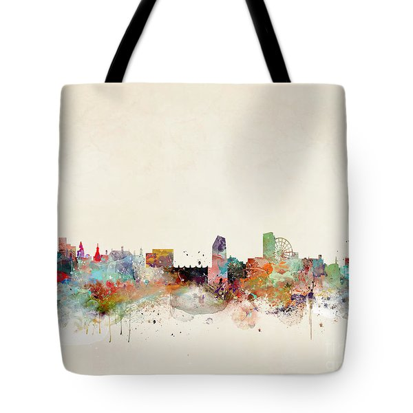Tote Bag featuring the painting Sheffield City Skyline by Bri B