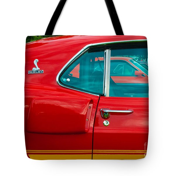 Red Shelby Mustang Side View Tote Bag