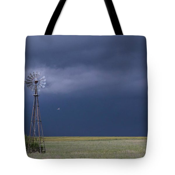 Tote Bag featuring the photograph Shelf Cloud And Windmill -02 by Rob Graham