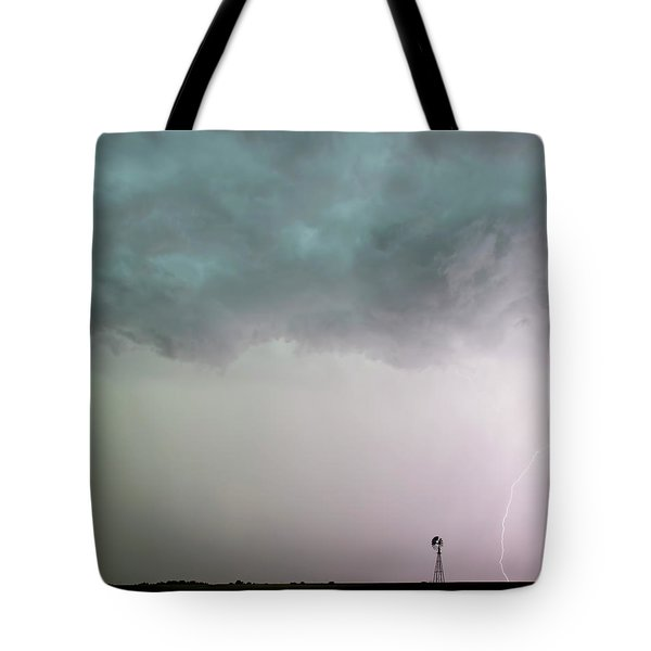 Tote Bag featuring the photograph Shelf Cloud And Windmill -05 by Rob Graham