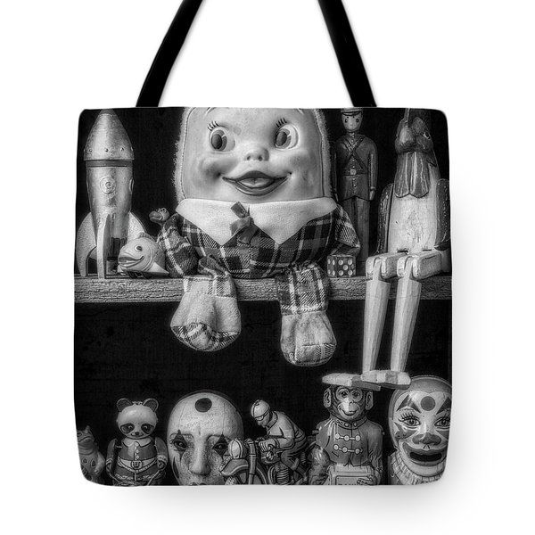 Shelf Of Old Toys In Black And White Tote Bag