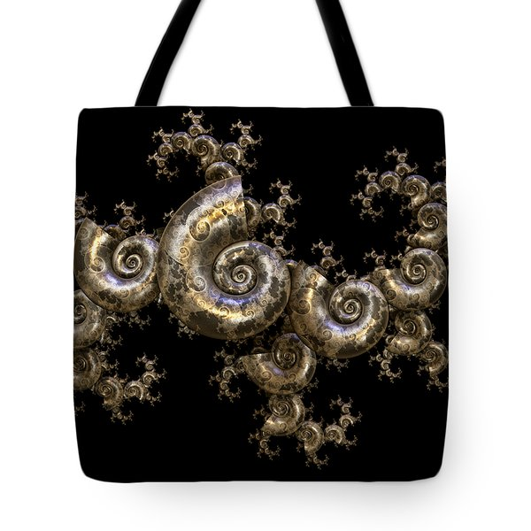 Tote Bag featuring the digital art Shell Fractal Dragon by Manny Lorenzo