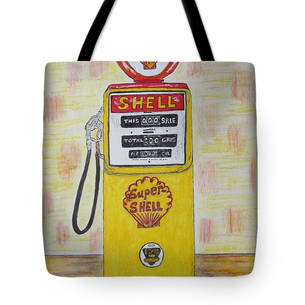 Tote Bag featuring the painting Shell Gas Pump by Kathy Marrs Chandler