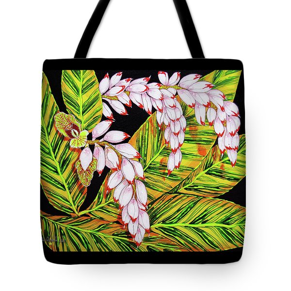 Shell Ginger Flowers Tote Bag by Debbie Chamberlin