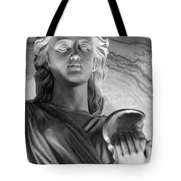 Shell In Hand B-w Tote Bag by Christopher Holmes