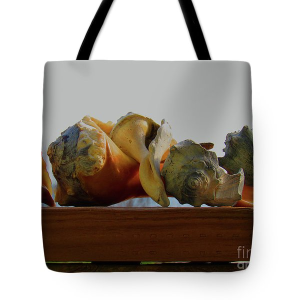 Shells Of The Sea In Orange And Gray Tote Bag