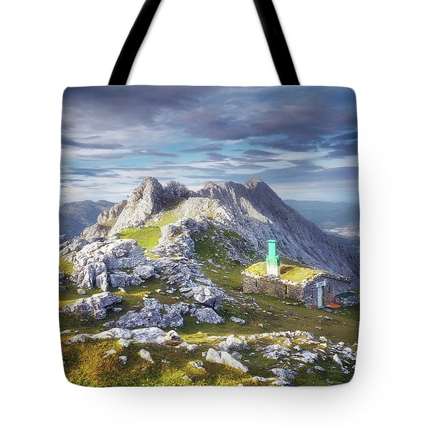 Shelter In The Top Of Urkiola Mountains Tote Bag