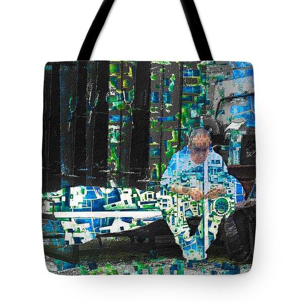 Tote Bag featuring the mixed media Shelter by Tony Rubino