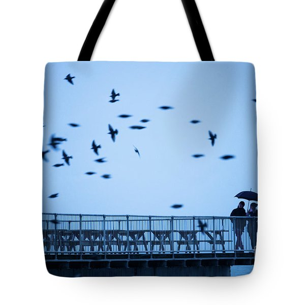 Sheltering Under An Umbrella Watching The Birds Tote Bag