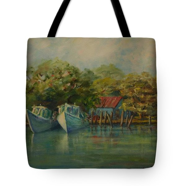 Shem Creek Boats Tote Bag by Dorothy Allston Rogers