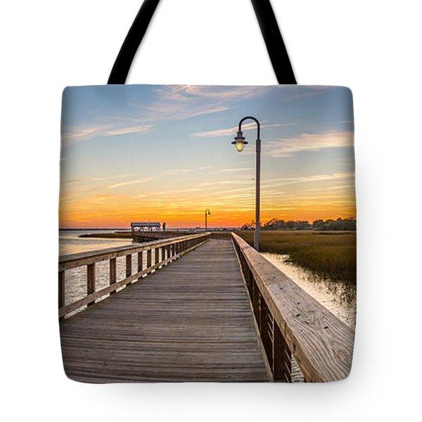 Shem Creek Pier Panoramic Tote Bag
