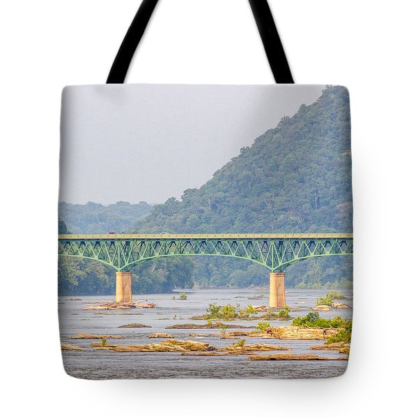 Shenandoah River Bridge At Harpers Ferry Tote Bag