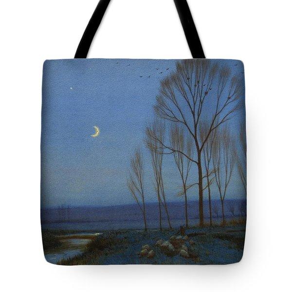 Shepherd And Sheep At Moonlight Tote Bag by OB Morgan
