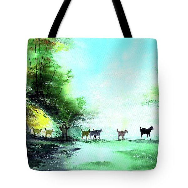 Tote Bag featuring the painting Shepherd by Anil Nene