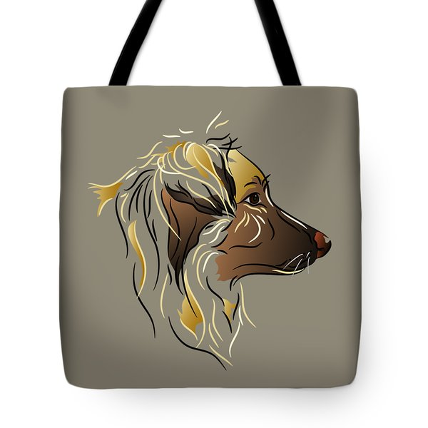 Tote Bag featuring the digital art Shepherd Dog In Profile by MM Anderson
