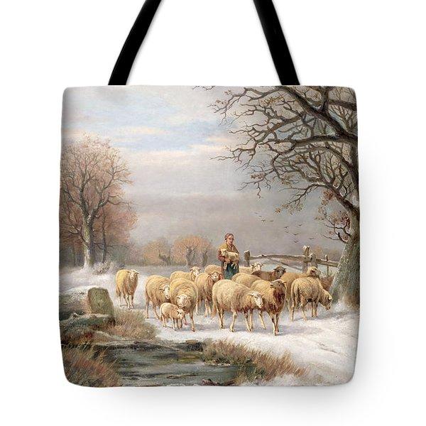 Shepherdess With Her Flock In A Winter Landscape Tote Bag by Alexis de Leeuw